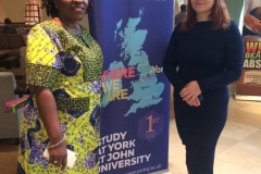 Stephil Consults' Consultant-in-Charge, Mrs. Olayinka Yomi-Edun with YSJU's International Development Officer, Silviya Lewin on the occasion of YSJU alumni dinner