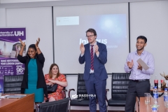 The University of Hertfordshire team applauding agents at an interactive briefing in Sheraton Hotel, Lagos.